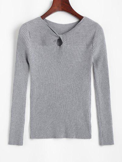 Ribbed Keyhole Twisted Jumper Sweater - Gray