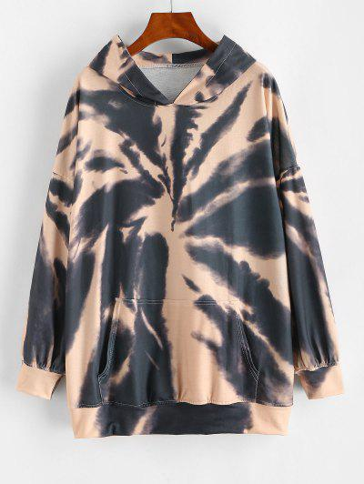 Front Pocket Tie Dye Oversized Hoodie - Sepia L