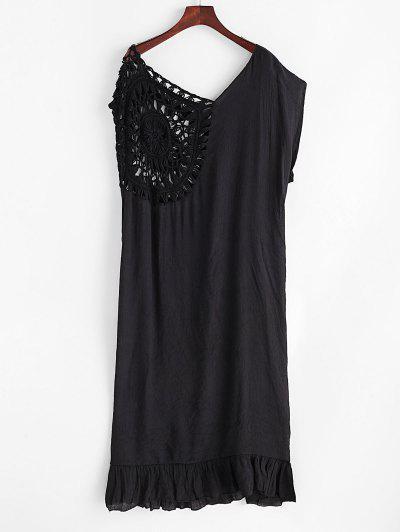 Ruffled Hem Crochet Panel Solid Cover Up Dress - Black