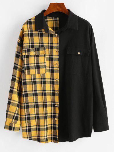 Button Down Contrast Plaid Flap Pockets Shirt - Black Xl