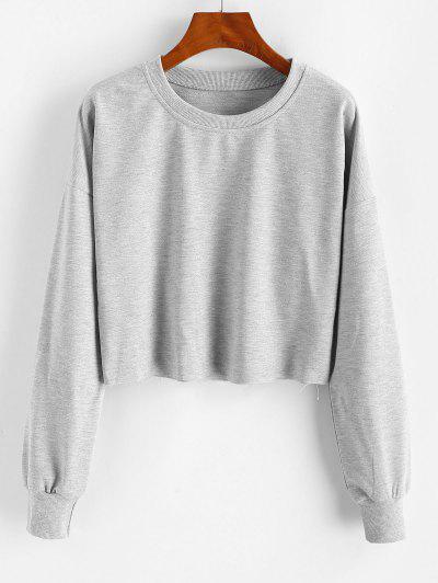 Roh Ausschnitt Fallschulter Sweatshirt - Dunkelgrau M