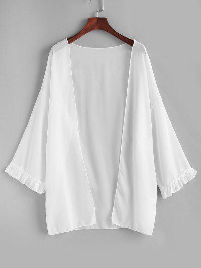Open Front Ruffled Trim Chiffon Cover Up - White