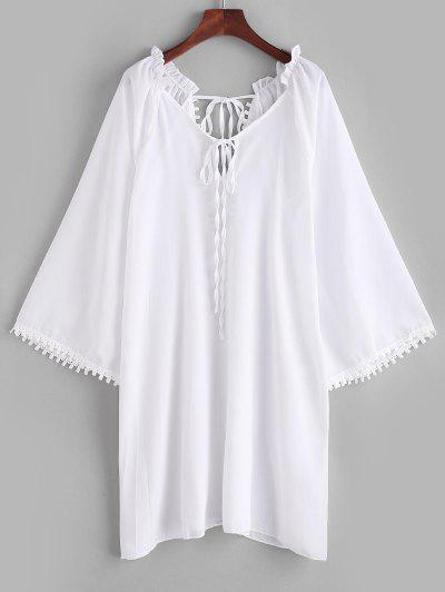 Ruffle Guipure Insert Keyhole Slit Cover Up Dress - White M