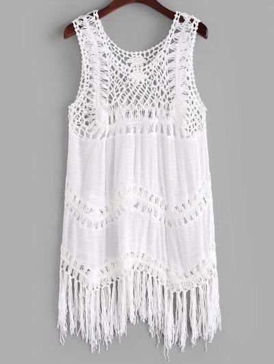 Solid Crochet Panel Tasseled Trim Cover Up Dress - White
