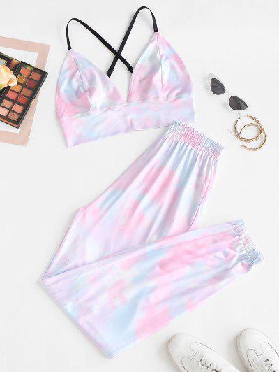Tie Dye Crisscross Two Piece Pants Set - Light Pink S