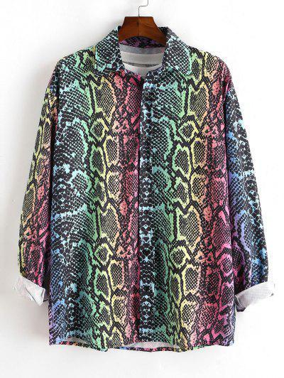 Colorful Snake Print Button Up Shirt - Multi 2xl
