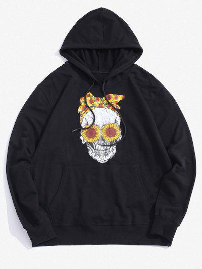 Halloween Daisy Skull Graphic Pouch Pocket Casual Hoodie - Black S