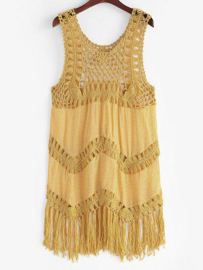 Solid Crochet Panel Tasseled Trim Cover Up Dress - Deep Yellow