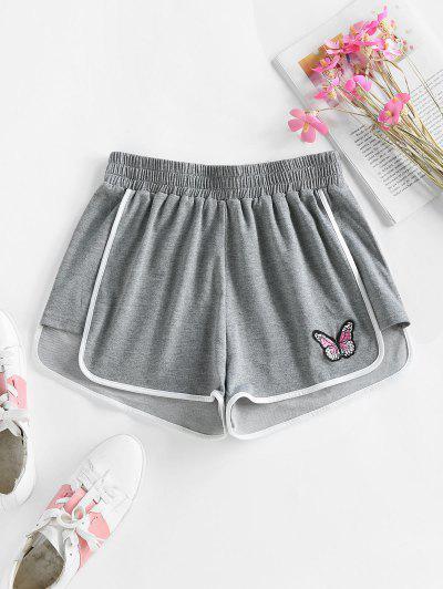 ZAFUL Binding Butterfly Applique Pull-on Sweat Shorts - Dark Gray M