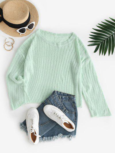 Pointelle Knit Drop Shoulder Roll Trim Sweater - Light Green S