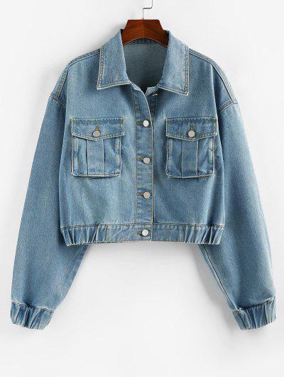 ZAFUL Drop Shoulder Elastic Cuffs Pocket Denim Jacket - Light Blue L