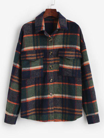ZAFUL Flannel Plaid Shirt Jacket - Deep Green M