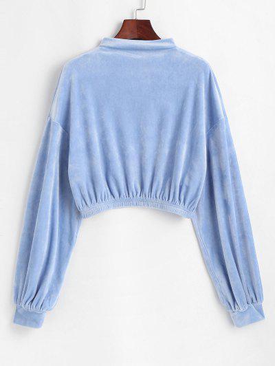ZAFUL Mock Neck Velvet Cropped Sweatshirt - Powder Blue Xl