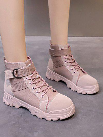 Lace Up Buckle Strap Ankle Boots - Helles Rosa Eu 38