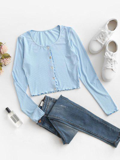 ZAFUL Ribbed Lettuce Trim Button Up T-shirt - Light Blue M