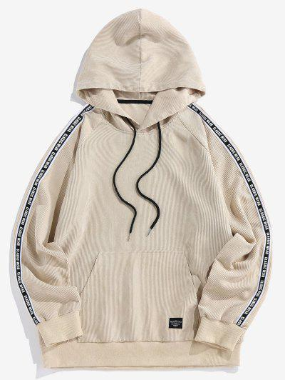 ZAFUL Letter Print Ribbed Raglan Sleeve Hoodie - Light Coffee 2xl