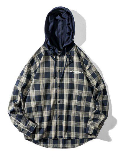 Plaid Letter Print Colorblock High Low Hooded Shirt - Coffee L