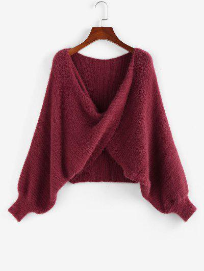 ZAFUL Batwing Sleeve Front Twist Sweater - Deep Red M