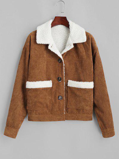 ZAFUL Shearling Lined Corduroy Jacket - Caramel L