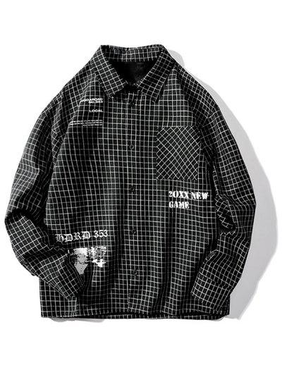 Tartan Letter Graphic Pocket Long Sleeve Shirt - Black 3xl