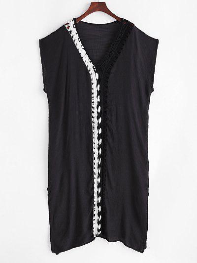 Bicolor Crochet Plunging Slit Cover Up Dress - Black