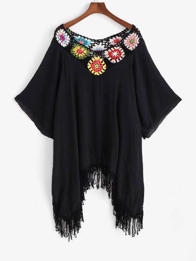 Flower Crochet Fringed Raglan Sleeve Handkerchief Cover Up Dress - Black