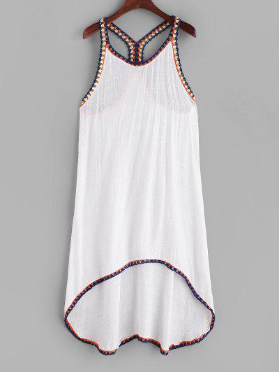 High Low Braided Trim Cover Up Dress - White M