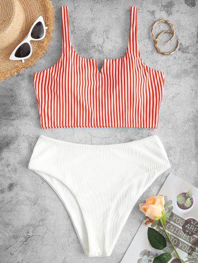 ZAFUL Ribbed Striped V Wired Tankini Swimwear - Red 2xl