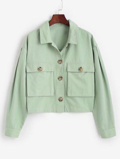 ZAFUL Tortoiseshell Button Cargo Jacket - Light Green L