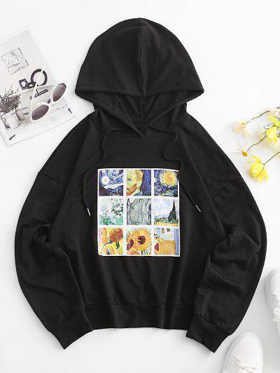 ZAFUL Sonnenblumen Galaxie Kunst Fallschulter Hoodie - Schwarz M