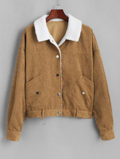 ZAFUL Shearling Lined O Ring Corduroy Jacket - Coffee S