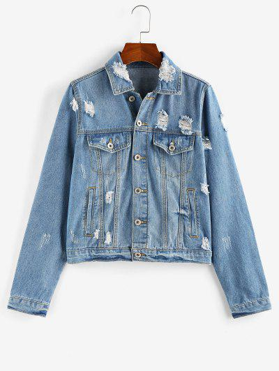 ZAFUL Distressed Button Up Denim Jacket - Blue Xl
