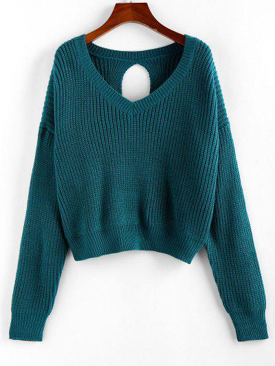 ZAFUL V Neck Drop Shoulder Open Back Sweater - Deep Green M