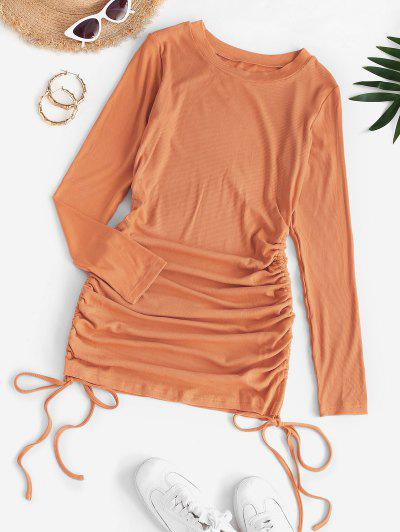 Drawstring Hem Ribbed Mini Bodycon Dress - Light Orange S