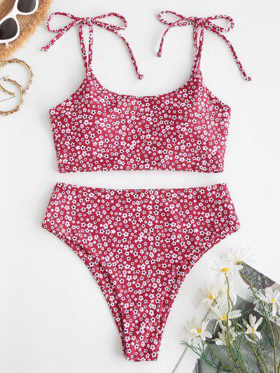 ZAFUL Tie Ditsy Floral Crisscross Tankini Swimwear - Red Xl