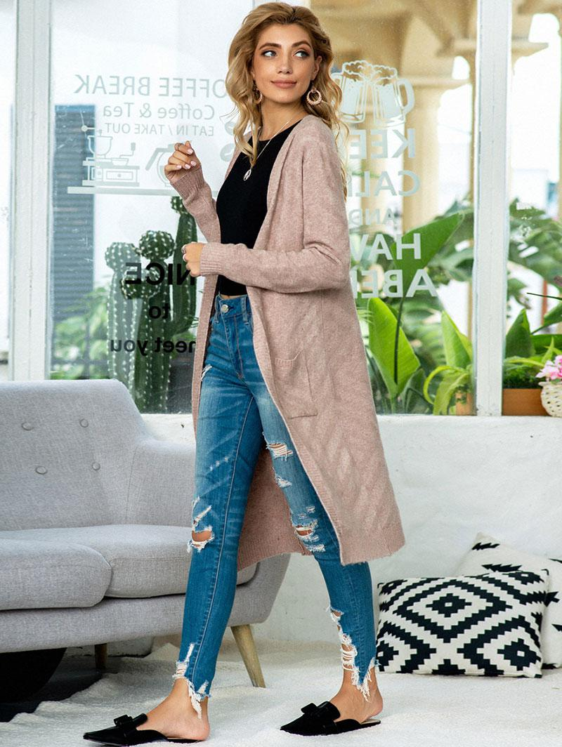 Open Front Heathered Dual Pocket Cardigan