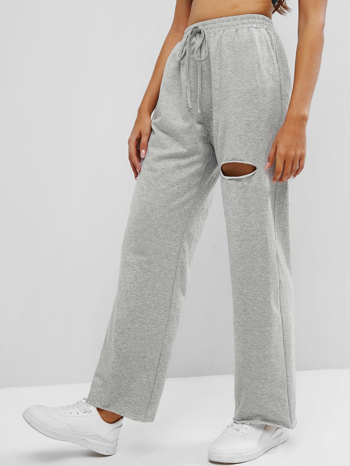 ZAFUL Knee Ripped High Waisted Pocket Straight Pants