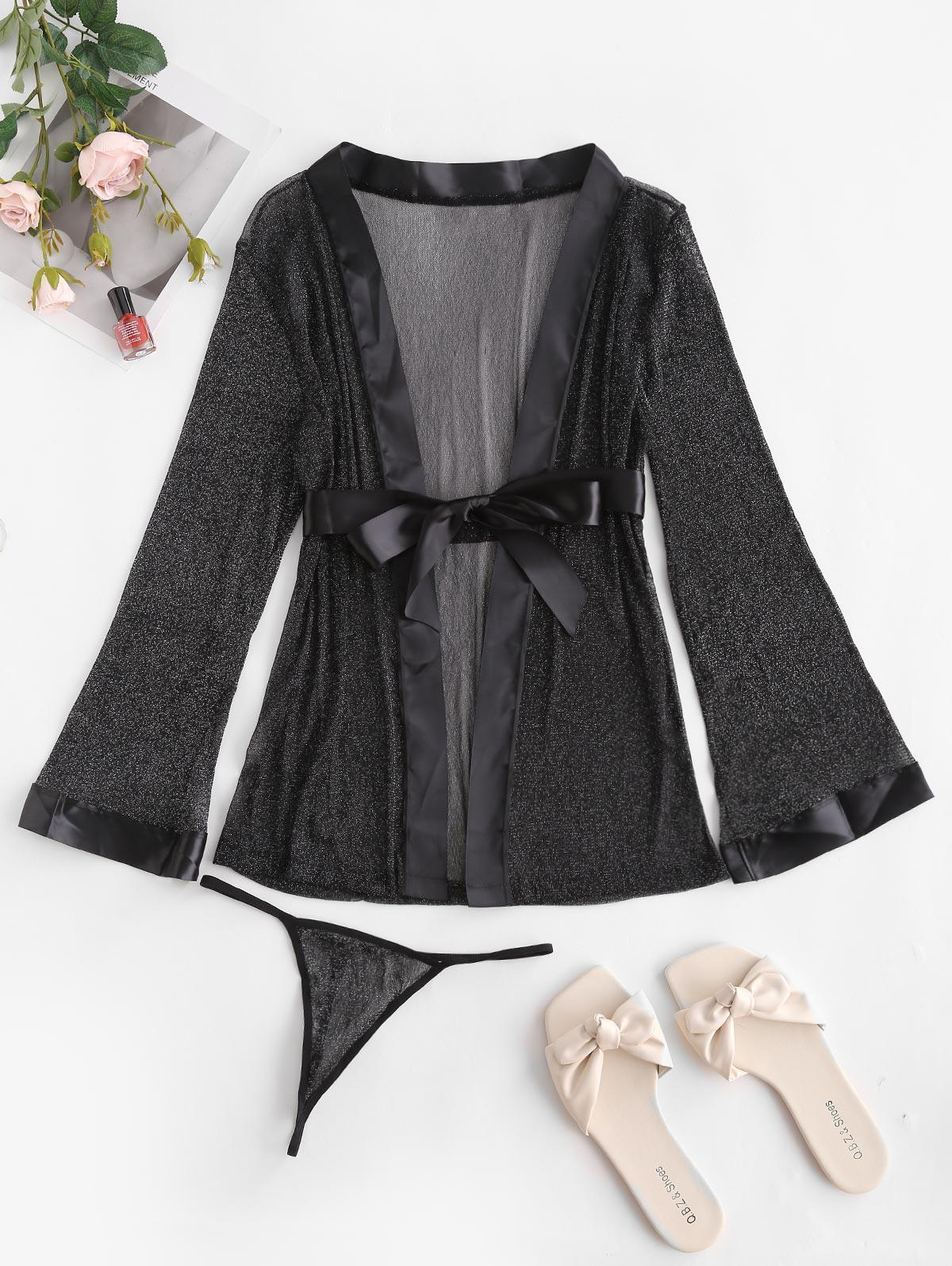 Sparkly Metallic Thread Lace See Thru Belted Robe