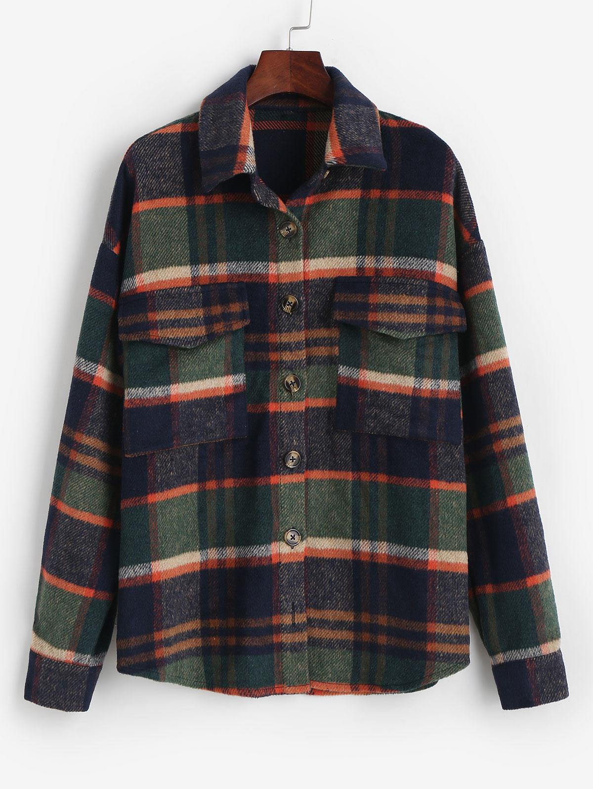 ZAFUL Flannel Plaid Shirt Jacket