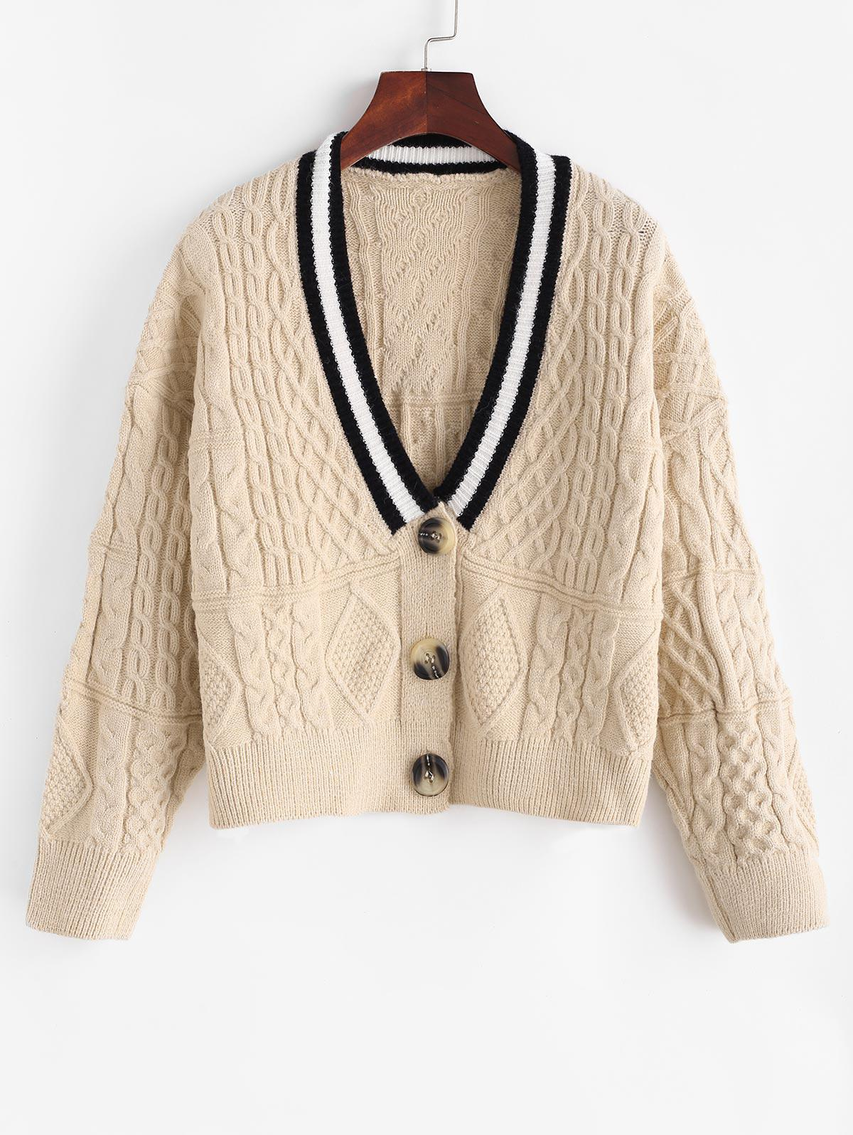 Button Up Preppy Stripes Cable Knit Cardigan