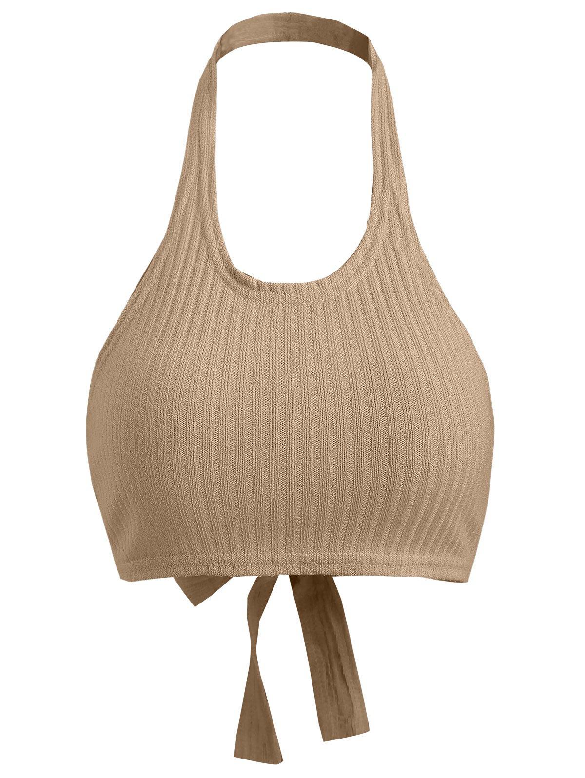 Ribbed Knit Crop Halter Top