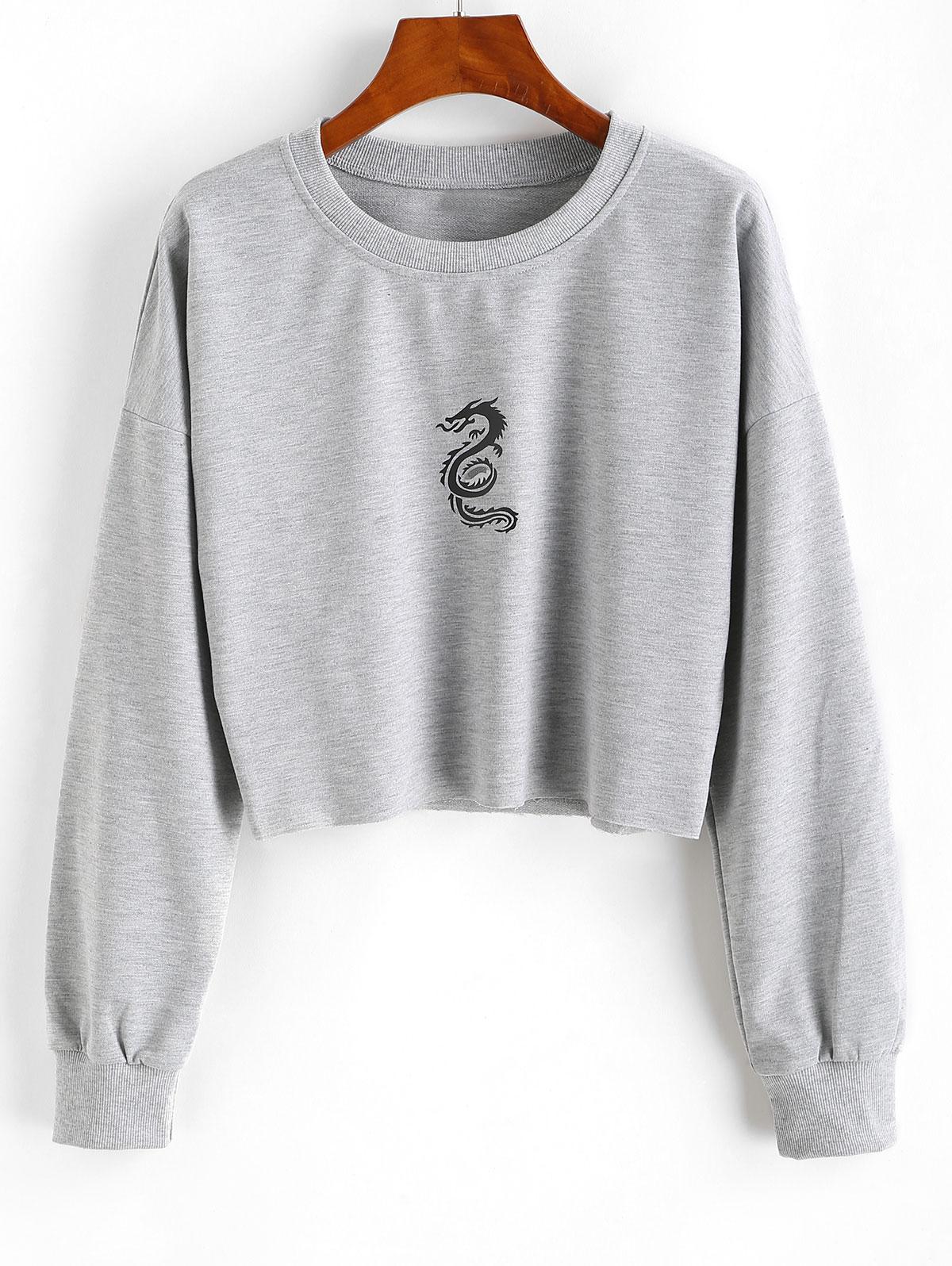 Dragon Graphic Raw Hem Drop Shoulder Sweatshirt