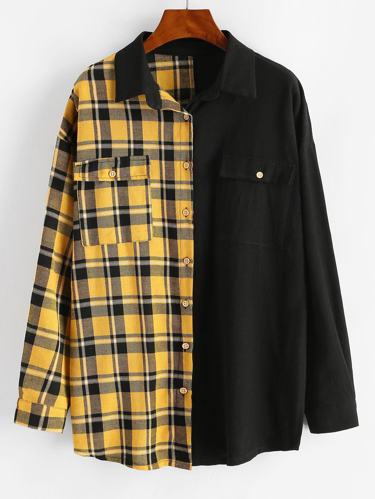 Button Down Contrast Plaid Flap Pockets Shirt