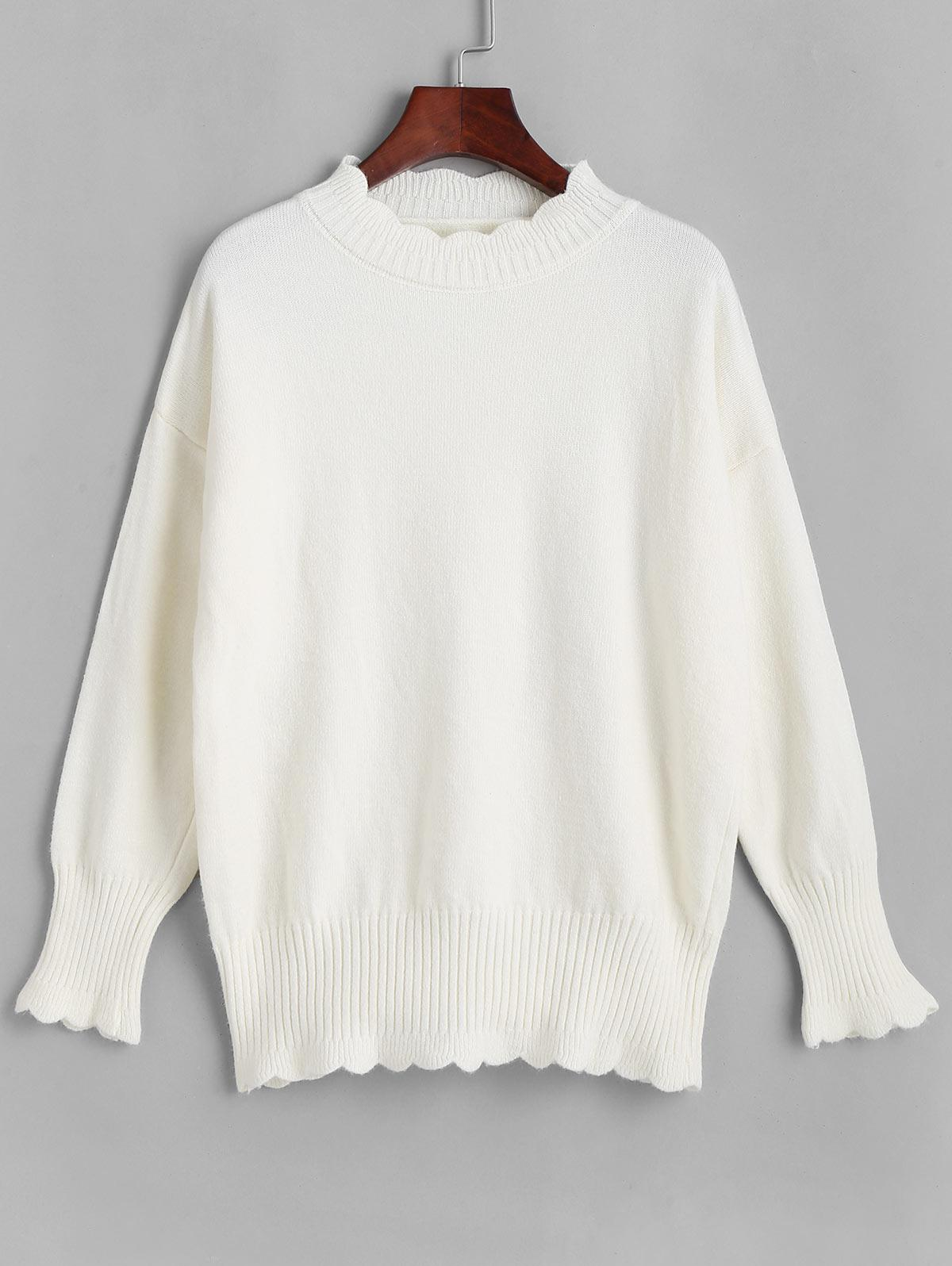 Scalloped Drop Shoulder Mock Neck Sweater