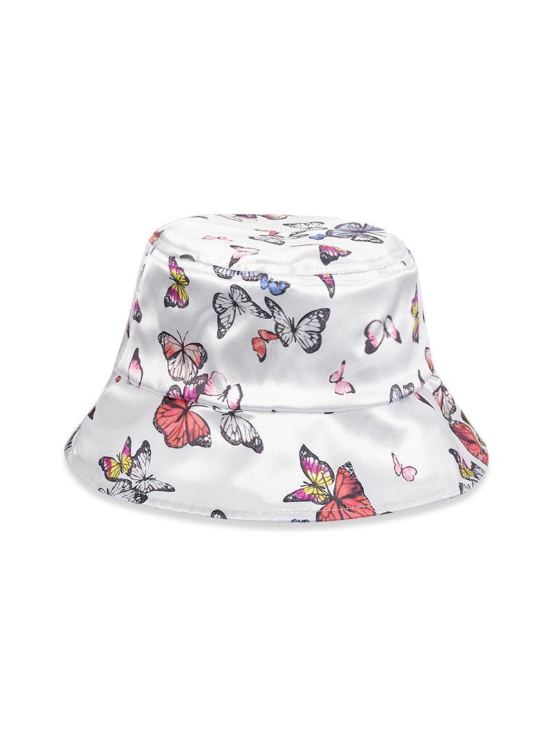 Butterfly Print Glossy Bucket Hat