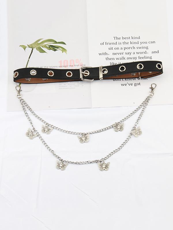Layered Chain Butterfly Pendant Belt
