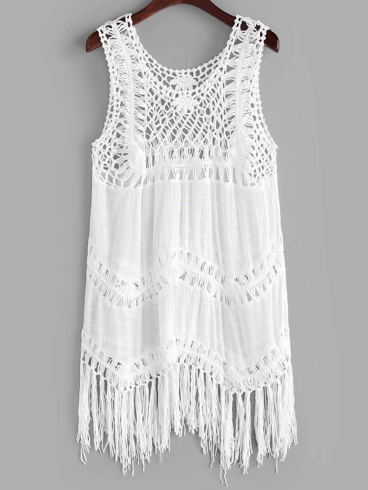 Solid Crochet Panel Tasseled Trim Cover Up Dress