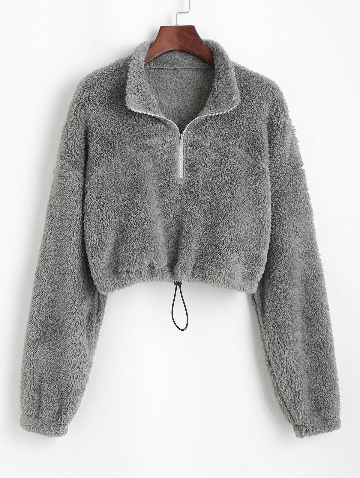 ZAFUL Half Zip Plush Cropped Sweatshirt