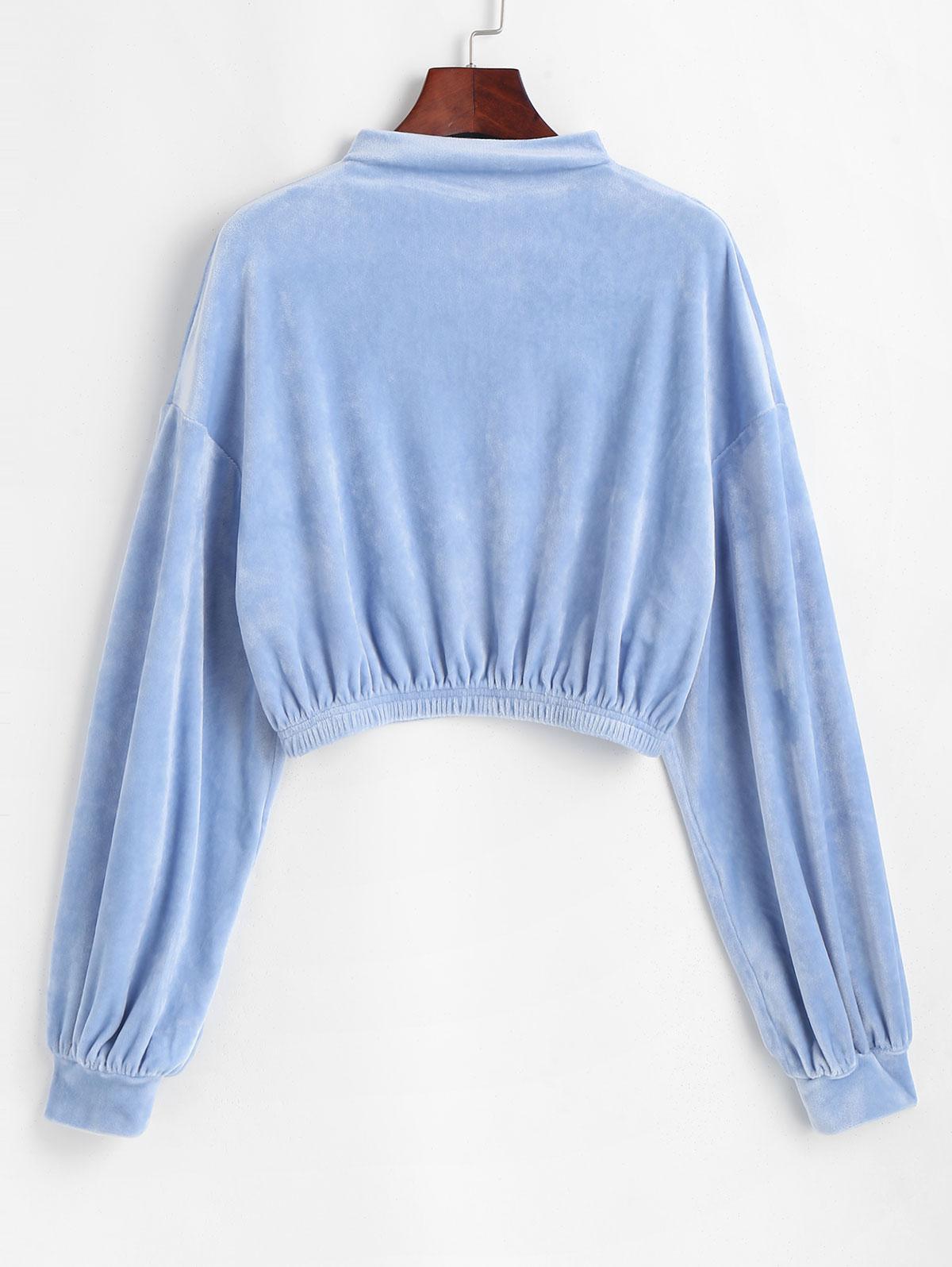 ZAFUL Mock Neck Velvet Cropped Sweatshirt