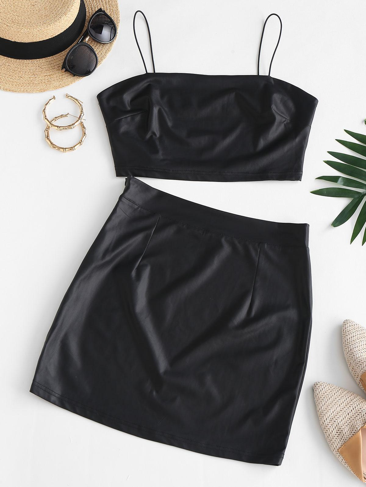 Bungee Strap Faux Leather Two Piece Dress